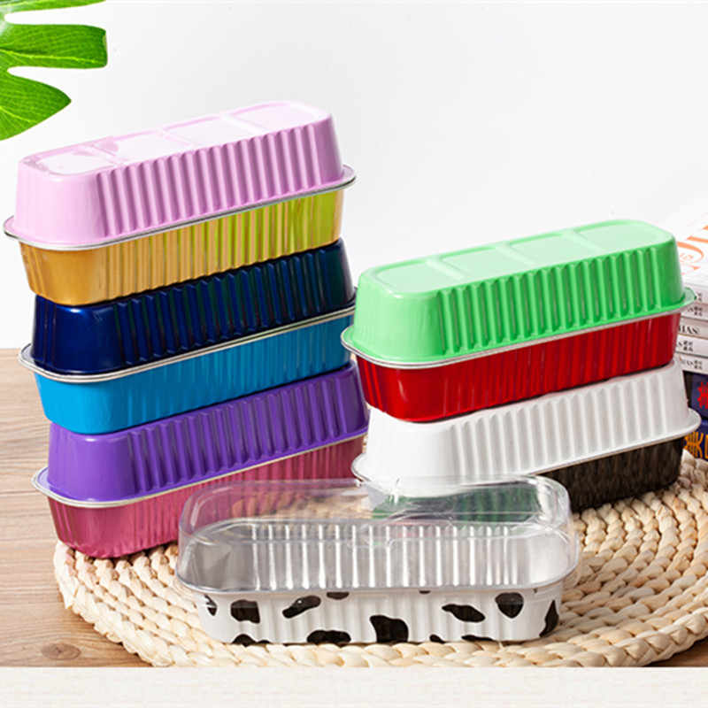 50pcs Colorful aluminum foil baking cake box 200ml rectangular small tin cup cheese dessert bread packaging cup with lid