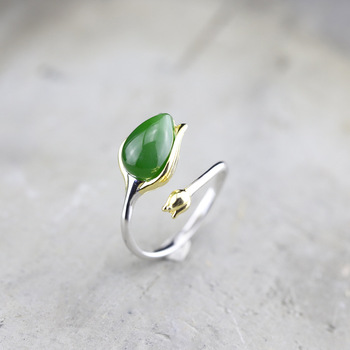 Personal silver fashion jewelry hand ornaments wholesale S925 pure silver pure handmade women tulip and Tian Biyu ring