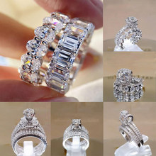 2 PCS/Set Zircon Crystal Series! Trendy Rings Set For Women Wedding Engagement Jewelry Famle Hand Accessories Size 5-11