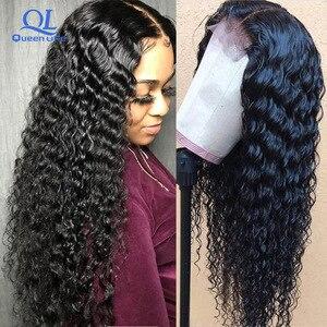 Queenlife Remy, бразильские парики с глубоким волнистым кружевом спереди, предварительно выщипанные отбеленные узлы, парики из человеческих воло...