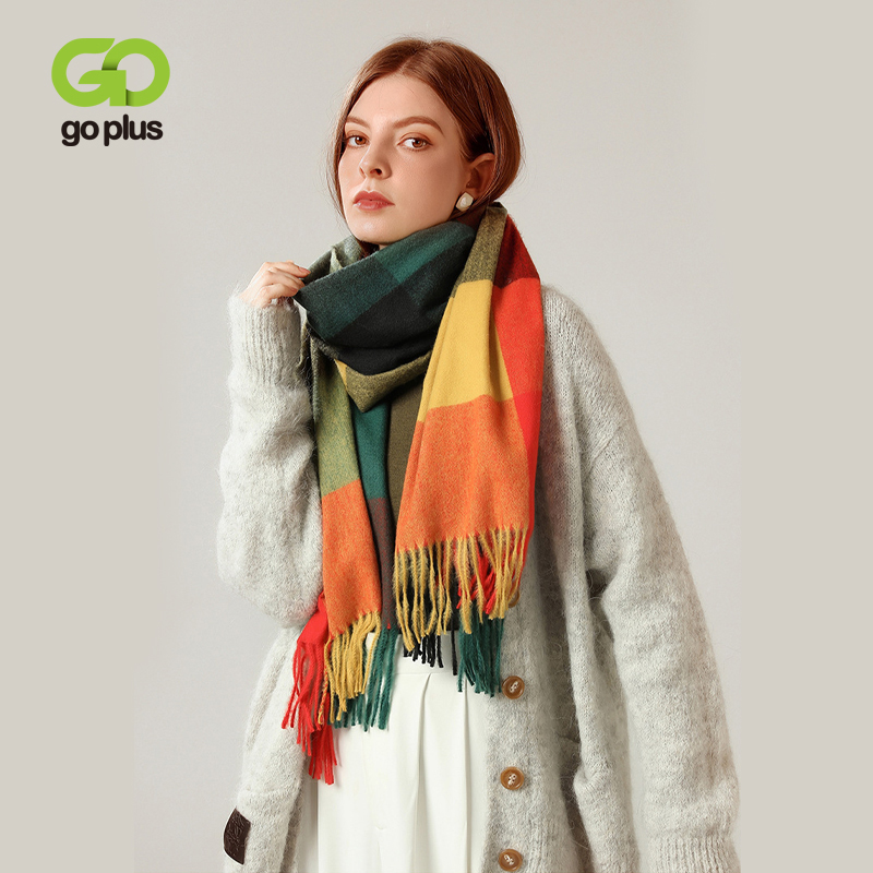Winter Scarf Women Plaid Warm Soft Bandana Women's Scarves 2021 Echarpe Femme Hiver Luxe Tassel Female Foulard Bufandas