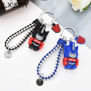 LXJERY 2 Colors Cute Cartoon Transformation Keychain Lovely Robot Key Chain For Women Bag Charm Pendant Key Ring Gifts Jewelry