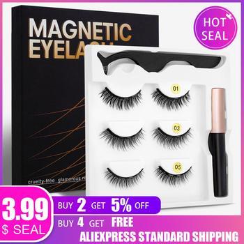 3 Pairs Magnetic Eyelashs Mink Lashes False Eyelashes Dramatic Volume Lashes Eyelash Extension Makeup faux mink Eyelashes 1