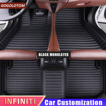 Custom Leather Car Floor Mats for Infiniti G35 Fx35 Fx37 Q50 Qx30 Qx60 Qx70 G25 G37 Double Floor Mats for Cars Auto Accessories