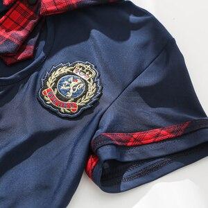 Image 3 - Seksowna dziurka od klucza szkoły dziewczyny bielizna damska mundurek szkolny z przodu krawat spódnica Mini w szkocką kratkę czerwone egzotyczne kostiumy do odgrywania ról