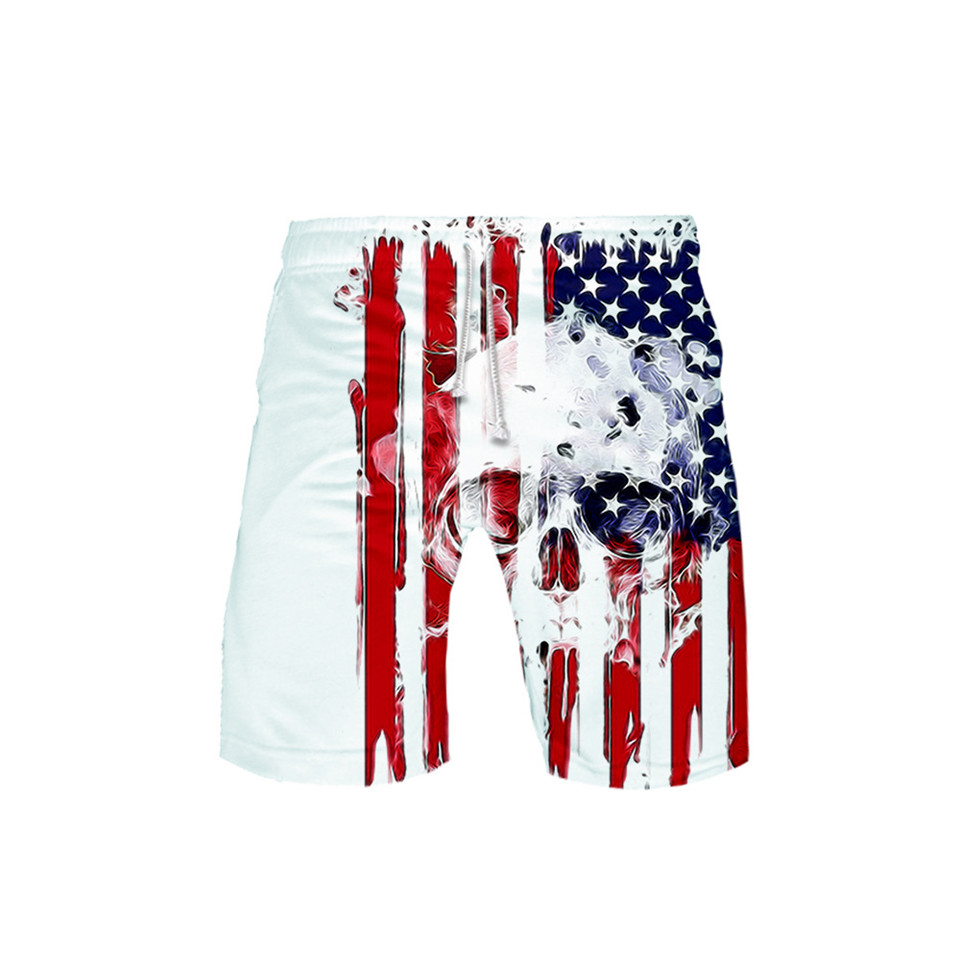 Skull Eagle USA Flag 3D Board Shorts Trunks Summer New Quick Dry Beach Swiming Shorts Men Hip Hop Short Pants Beach clothes image