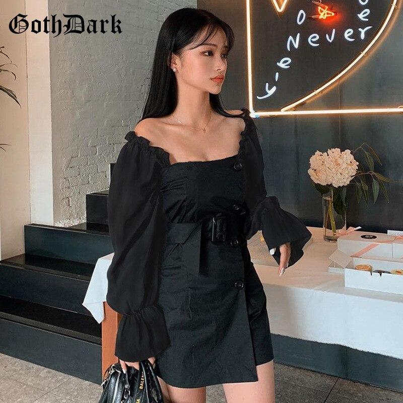 Goth Dark Black Gothic Dress Women Patchwork Sash Autumn 2019 Vintage Long Sleeve Female Mini Dress Aesthetic Backless Button 1