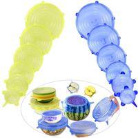 Promotion  Silicone Food Lid  12 Pcs Stretch Reusable Lids Expandable Silicone Storage Lid|Saran Wrap & Plastic Bags| |  -