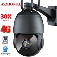 5MP 3G 4G SIM Karte Sicherheit IP Kamera 30X Zoom Wireless Outdoor HD PTZ CCTV Überwachung Dome Cam zwei Weg Audio CamHi APP