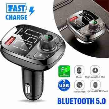 Bluetooth samochodowy nadajnik FM zestaw głośnomówiący QC3 0 ładowarka USB Mp3 Adapter radiowy zestaw bezprzewodowy zestaw głośnomówiący odbiornik Audio podwójny port USB tanie i dobre opinie siparnuo CN (pochodzenie) QYP8471 Nadajniki fm FM Transmitter Handsfree 7X5X4CM ≤10M LED screen Max 64GB