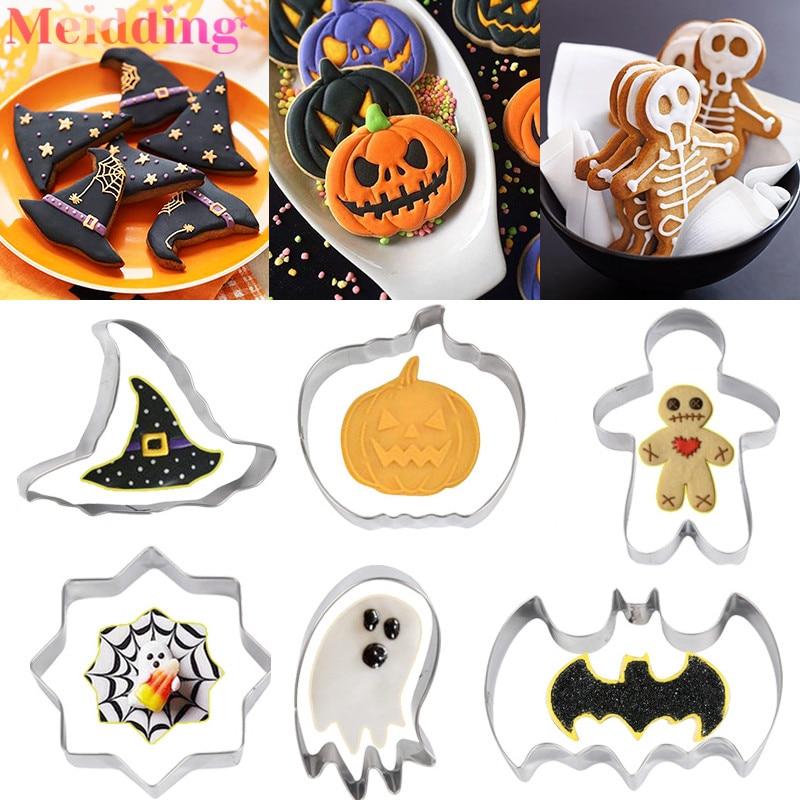 Halloween Cookie Cutter Set Pumpkin Ghost Bat Skull Spider Web Fondant Mold Biscuits Baking Tools Halloween Party Supplies
