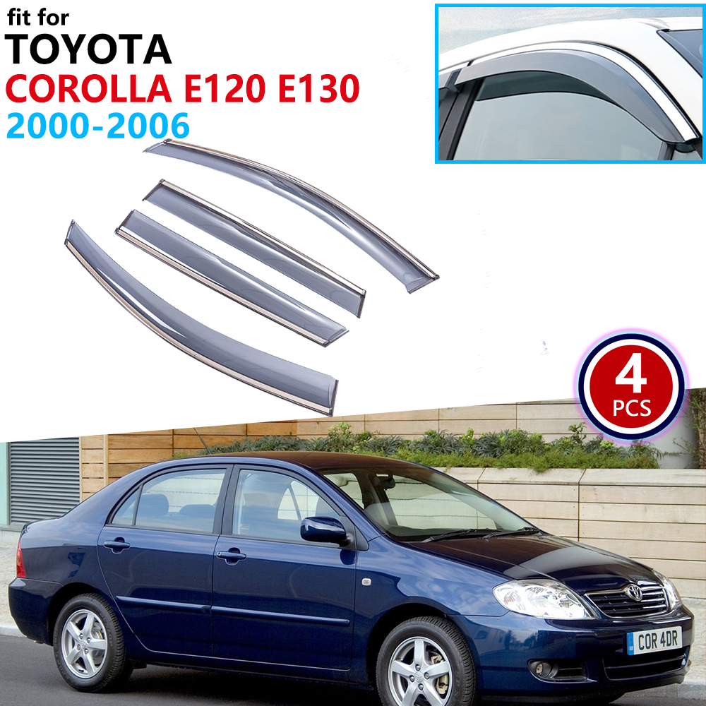 For Toyota Corolla Sedan E120 E130 2000 2001 2002 2003 2004 2005 2006 Window Visor Vent Awnings Rain Guard Deflector Accessories