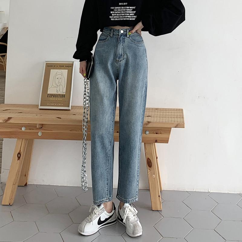 GUUZYUVIZ Vintage Denim Pants Boyfriend Jeans For Women Casual High Waist Jeans Woman Plus Size Jeans Mujer 2019 Blue