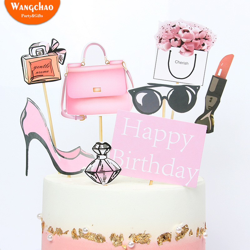 Astonishing Perfume High Heeled Fashion Girl Cake Topper Cake Decoration Funny Birthday Cards Online Elaedamsfinfo