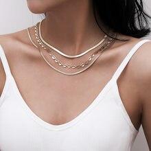 Gioielli popolari con collana a catena in osso di serpente di personalità esagerata semplice collana a catena a più strati retrò