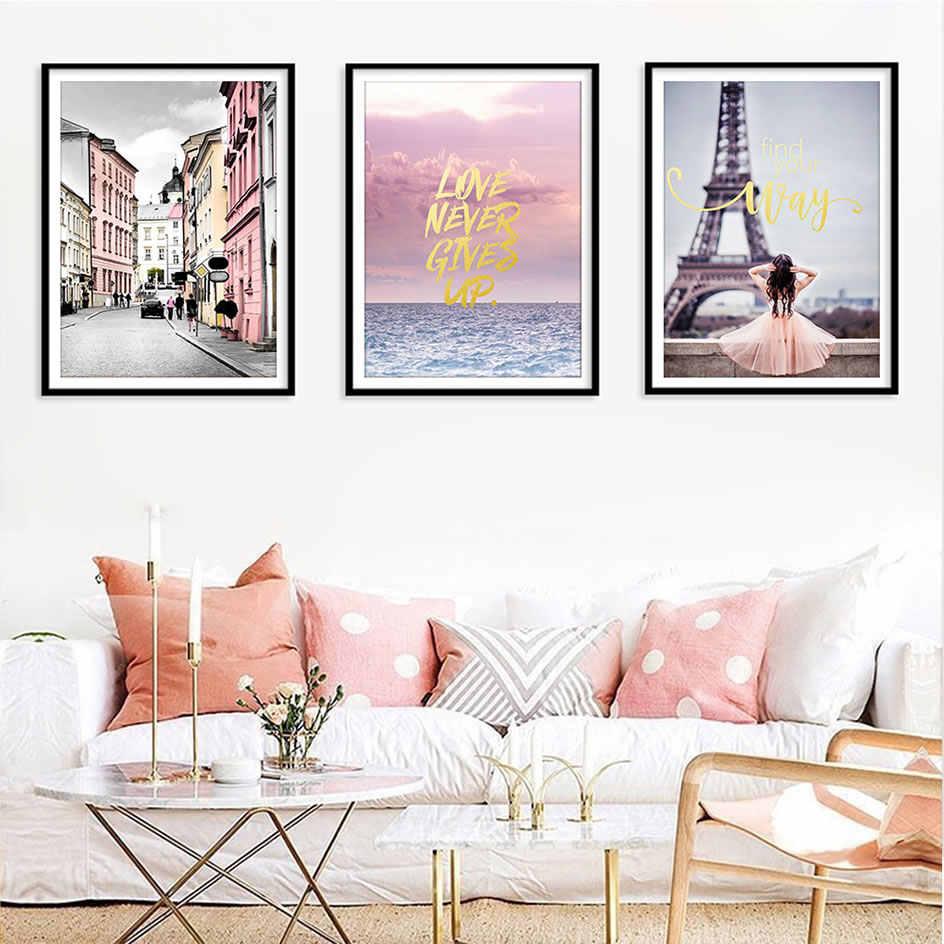 Nordic Mawar Merah Muda Minyak Lukisan Inti Cat Air Hijau Tanaman Dinding Gambar Modern Kartun Poster Dekorasi Ruang Tamu Tanpa Frame