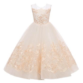 Flower Girl Dress Backless Kids Gown Lace Pageant Ball Gowns Little Girls Wedding Party Dresses Princess First Communion Dresses