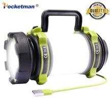 8000 lümen 100W uzun kullanım, USB şarj edilebilir LED lamba Torch kamp feneri su geçirmez açık arama el feneri balık avı