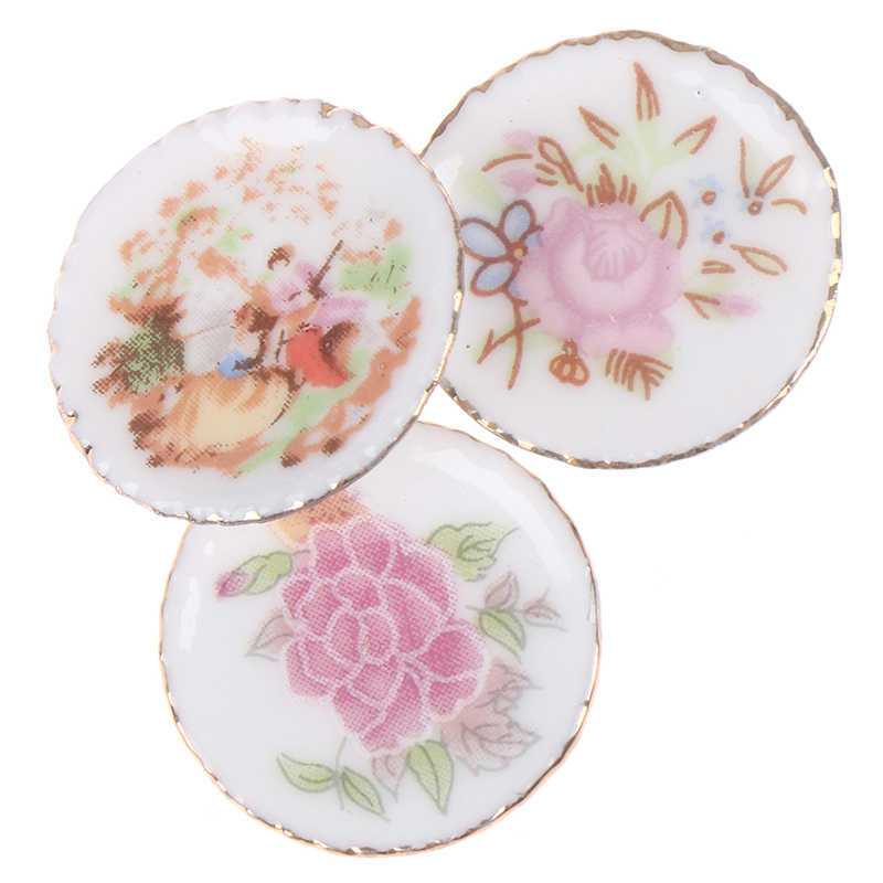 1/12 Dollhosue Miniature 3PCS Modern Ceramic China Porcelain Colorful Plates Doll House Kitchen Decor Dolls Accessories Kids Toy