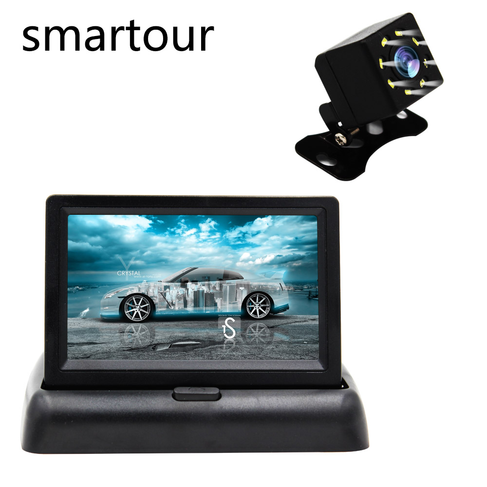 Smartour 4.3 Inch TFT LCD Car Monitor Foldable Monitor Display Reverse Camera Parking System For Car Rearview Monitors Ccd