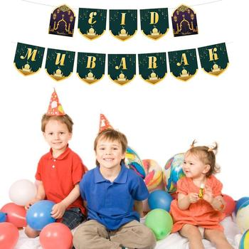 Eid mubarak Banner trznadel Ramadan artykuły do dekoracji imprez do dekoracji wnętrz tanie i dobre opinie Banery white cardboard Party St Świętego patryka