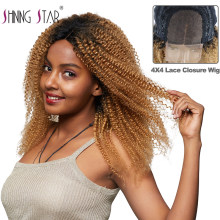 4*4 Lace Closure Wigs Ombre Peruvian 1B 27 Honey Blonde Kinky Curly Lace Human Hair Wigs For Black Women Non Remy Human Hair Wig(China)