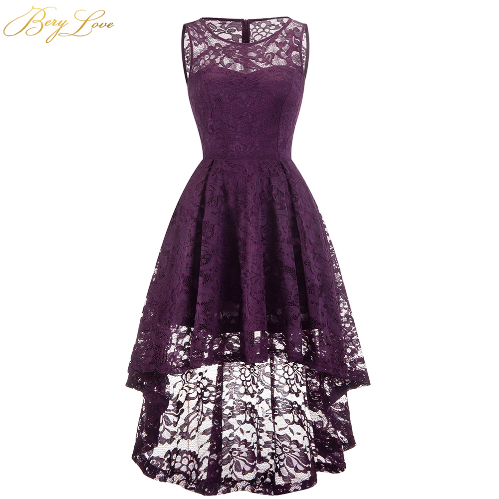 BeryLove Short Grape Homecoming Dresses 2020 Cheap Purple Scoop Neck Lace Girl Cute High-Low Party Graduation Gown Zipper Up