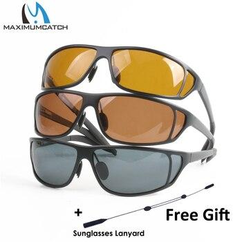 Maximumcatch チタン金属フレームフライフィッシング偏光サングラスグレー/イエロー/ブラウン色釣りサングラス