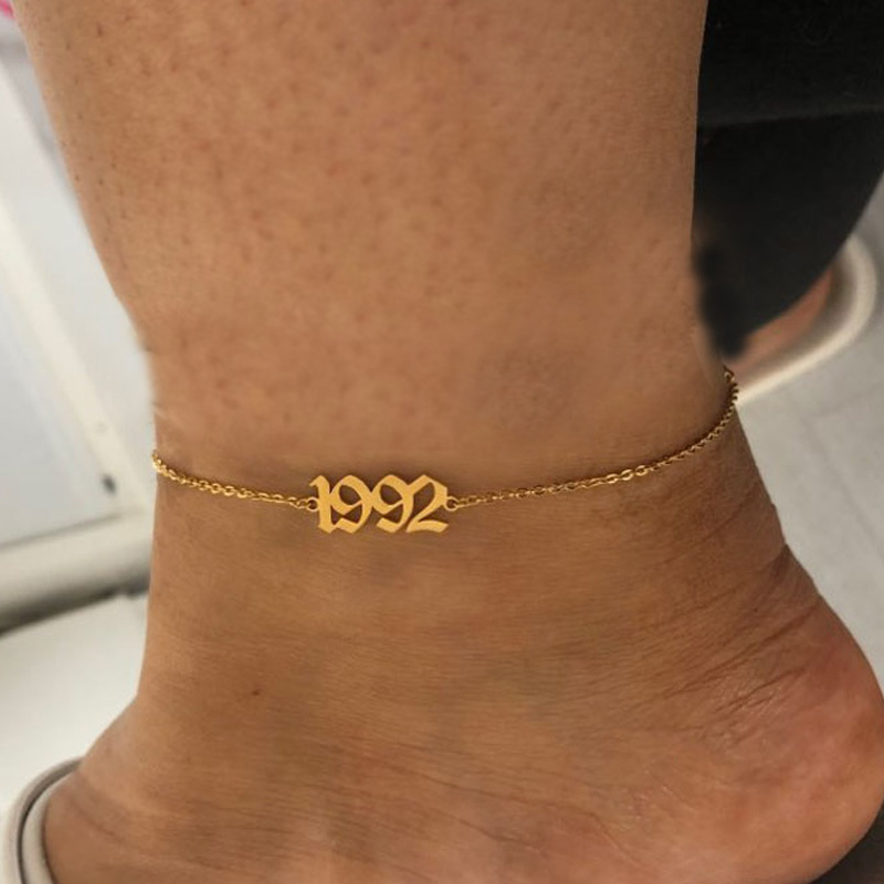 Simple Year Number Anklets Barefoot Sandals Foot Jewelry Leg New Anklets Foot Ankle Bracelets For Women Leg 1980 1992 1995 1998