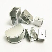 4pcs/lot Space Aluminum Glass Clamps Shelves Holder Corner Bracket Clamp Aluminum Square Half Round For 5-12mm Glass Clips Whole