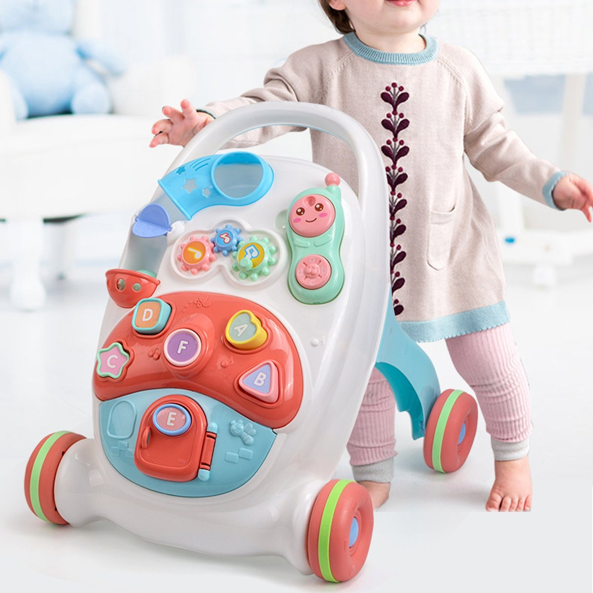 2-in-1 Baby Walker Toys Multifuctional Non-slip Toddler Trolley Sit-to-Stand ABS Musical Walker With Water Tank for Toddler