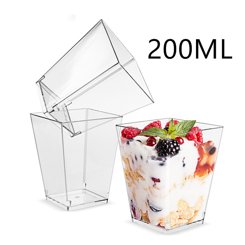 20Pcs 200ml Large Size Mousses Dessert Cup Clear Pudding Cup Party Accessories Wedding Supplies Disposable Plastic Tableware