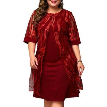 6XL Plus Size Vintage Dress For Women Elegant Lace Floral Dress Knee-Length Red Dresses Patchwork Round-neck Dress Laides D30 цена 2017