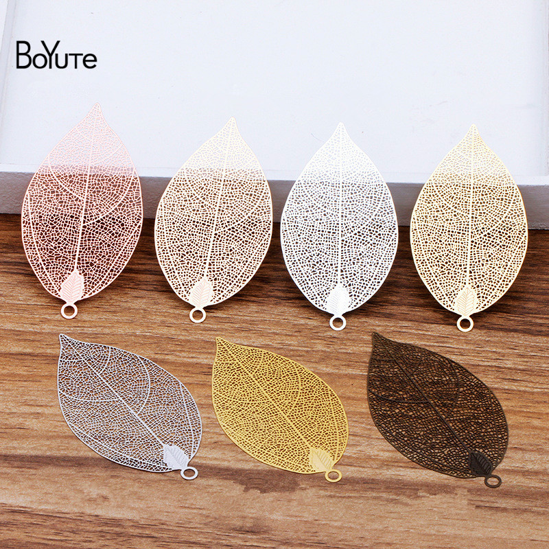 BoYuTe (10 Pieces/Lot) 75*39.5*0.2MM Big Metal Brass Filigree Leaf Corroded Sheets Diy Hand Made Jewelry Making Accessories