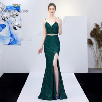 prom dresses sexy halter mermaid green/dark red pleat sequin Prom dress floor length in stock party