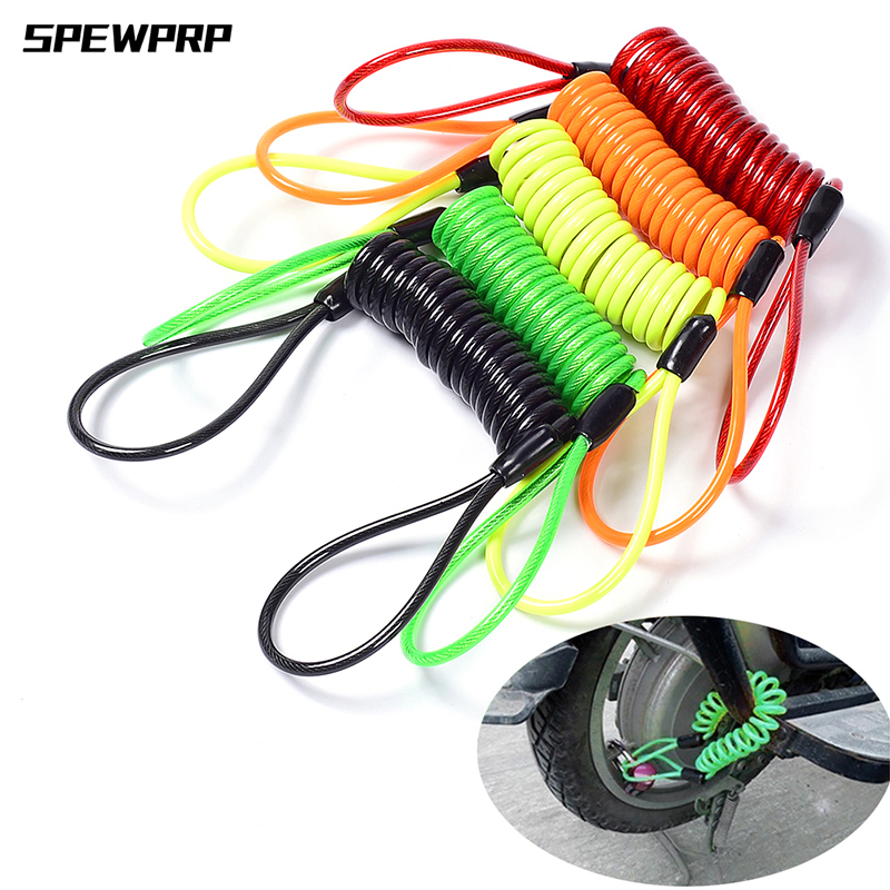 SPEWPRP 120CM Motorcycle Brake Disc Lock Scooter Reminder Cable Bicycle Spring Rope Bag Anti-Theft Cable Protection Alarm Locks