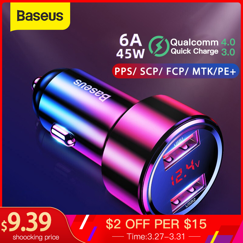 Baseus Quick Car Charger 6A 45W Dual USB Type C Charge For Xiaomi Samsung Phone Car Fast Charging