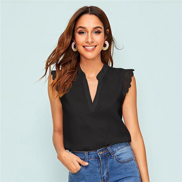 Sleeveless Top Lace Trim V Neck Stand Collar Blouse