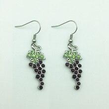 Drop-Earring Grape-Shaped Crystal Cluster-Plant Jewelry Rhinestone-Grape Ethnic Vintage