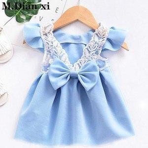 Summer New 2019 Baby Girls Children's Floral Lemon Sling Bow Cotton Striped Cartoon Strap Dress Kids Princess Dresses(China)