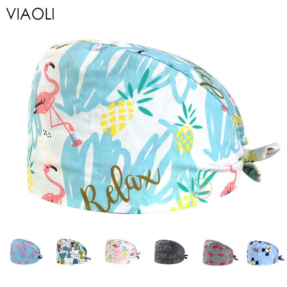 Print Doctor Surgical Scrub Cap For Women Hospital Medical Cap 100% Cotton Lab Clinic Dental Operation Tieback Doctor Nurse Hat