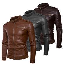 New arrival Autumn Male Leather Jacket Plus Size 3XL Black Brown Men Stand Collar Coats Leather Biker Jacket Coat Outwear