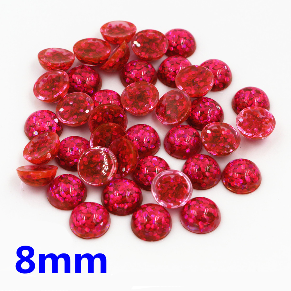 New Fashion 40pcs 8mm Rsoe Red Color Flat Back Resin Cabochons Cameo  O7-07