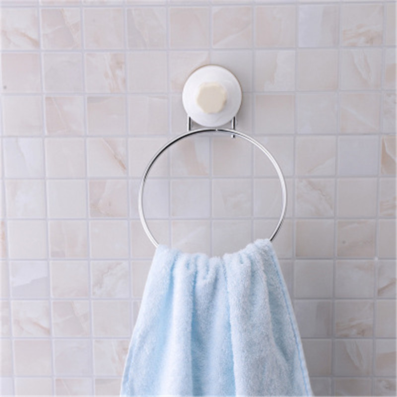 Stainless Steel Towel Bar Rack Round Bathroom Kitchen Wall mounted Towel Polished Rack Holder Suction Cup Bathroom Organizer|Towel Bars| |  - title=