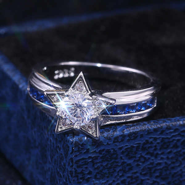HUITAN Luxury Shiny Star Ring Dazzling Brilliant Cubic Zircon Crystal Blue&White Stone Wedding Engagement Romantic Jewelry Ring