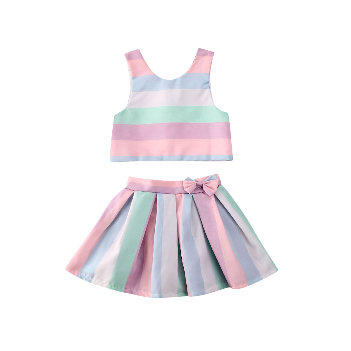 UK Toddler Kids Baby Girls Dress Cartoon Ice-Cream Printed Casual Dress 2-7Y