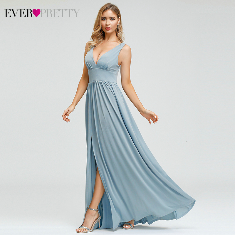 Sexy Blue Bridesmaid Dresses Ever Pretty EP00882BL A-Line High Split Deep V-Neck Simple Wedding Guest Gowns Abito Damigelle 2020