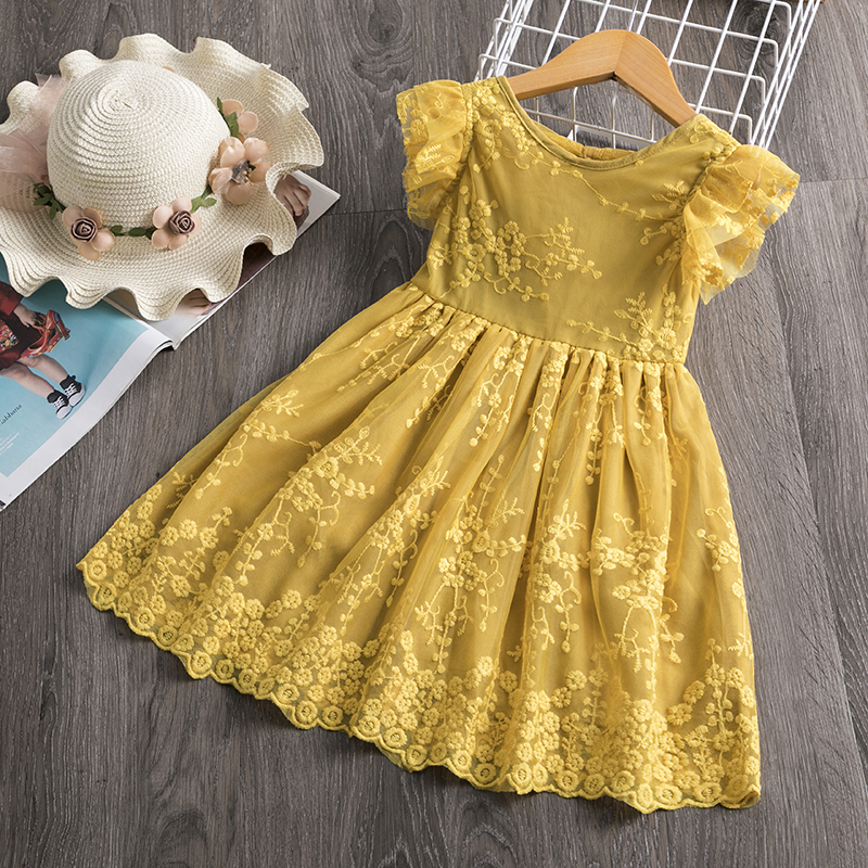 Summer Toddler Girls Lace Cake Dress Kids Sleeveless Floral Mesh Wedding Dresses Children Clothing For Baby Girls 3 to 8 Years