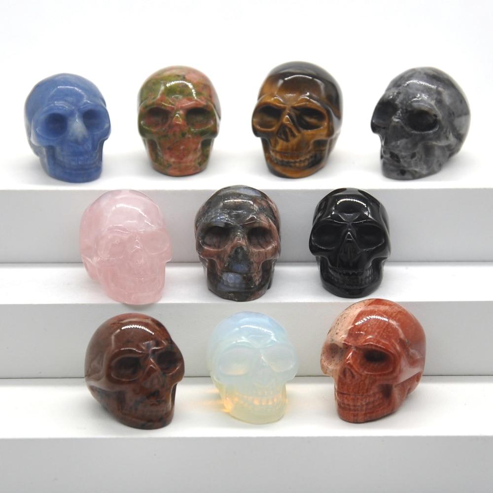 1 дюйм натуральный кварцевый хрусталь череп резной минеральный драгоценный камень рейки Восстанавливающий домашний декор Хэллоуин DIY укра...