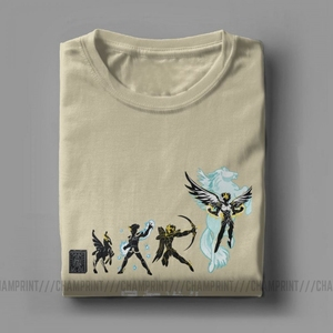 Image 5 - Seiya Evolution Men T Shirts Knights of the Zodiac Saint Seiya 90s Anime Awesome Tees Short Sleeve T Shirt 100% Cotton Plus Size